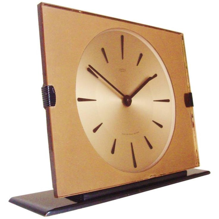 English Mid-Century Peach Mirror, Lucite and Enamel Mechanical Clock by Smiths 1