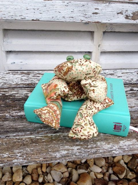 Bean bag frog hippy browns and greens soft toy by Kirstyflo