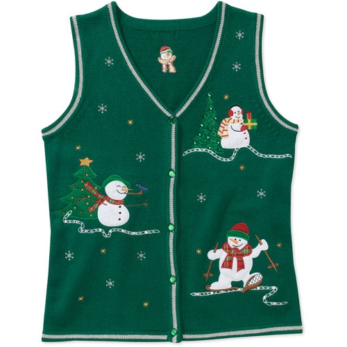 White Stag Womens Snowmen Christmas Sweater Vest Women Walmart