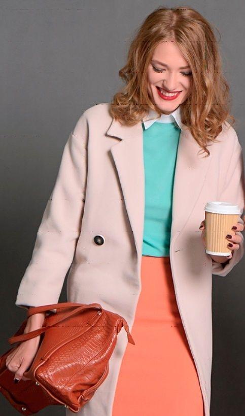 Оранжевый кардиган, бирюзовая блузка, бежевая юбка, оранжевая сумка, бежевые туфли