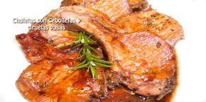 Chuletas con cebolletas y ciruelas pasas | Recetas fáciles