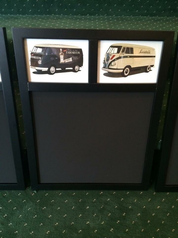 "Just arrived and the perfect gift for the VW enthusiast. Chalk memo boards 13""x16.5"" in 4 different styles all depicting different Splitscreen transporters and vans mounted behind glass ( the pics are licensed VW postcards and are beautifully printed on thick stock card)  £7.50 each or £11 posted.  2/4"