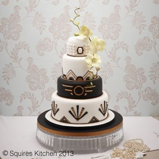 "Liz Finch Art Deco wedding cake ~ The Spring issue of ""Cakes and Sugar Craft Magazine"" available from some W H Smiths, newsagents and direct from the publisher Squires Kitchen Magazine Publishing features my Great Gatsby Inspired Art Deco wedding cake."