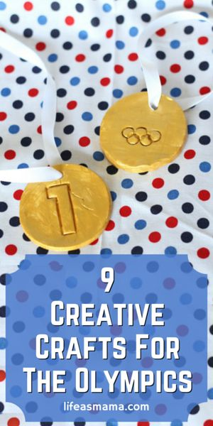The Olympics are a special and rare time that our world comes together mostly in unity, and its great to instill a sense of appreciation for that in our kids. You may need to get a little creative because they probably don't quite understand the ins and outs of diving scores (or Olympic Committee scandals)! I've found some great crafts for the kiddos that will keep them busy while you're catching up on rhythmic gymnastics!