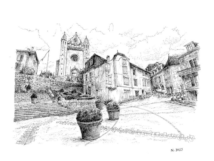 Terrasson - France. Black ink drawing by Nicolas Jolly