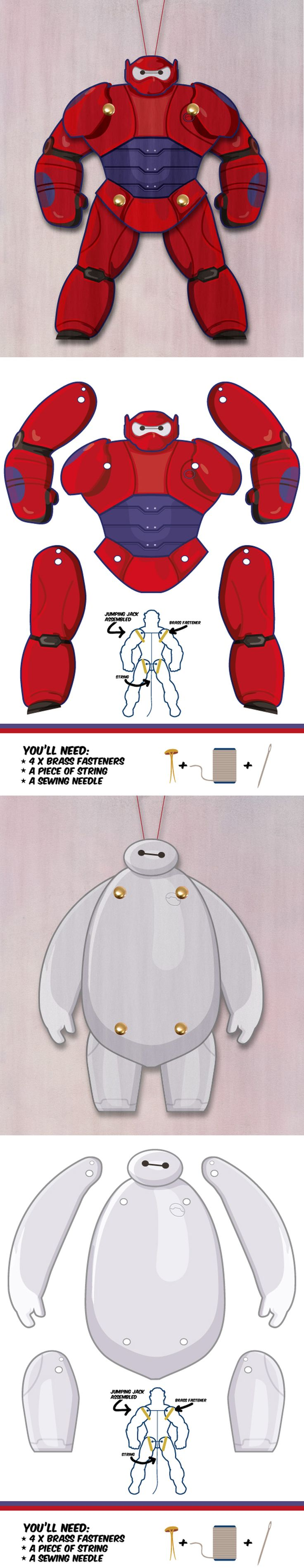 Muñeco de papel articulado. Plantilla para descargar gratis - Baymax from Big hero 6 as a Jumping Jack. Dowload template free. Another cool superhero puppet.
