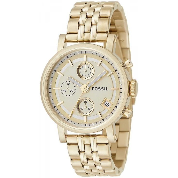 The oversized Fossil unisex ES2197 gold-tone watch features a champagne-colored dial and chronograph movement. This is the watch you'll want to wear with everything, and it's the perfect way to stay in style.