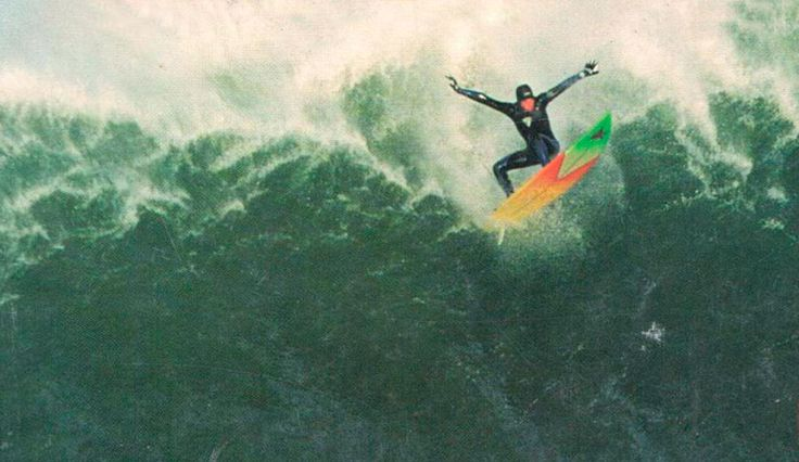 The shot heard around the world. Jay Moriarity's wave at Maverick's landed him on the