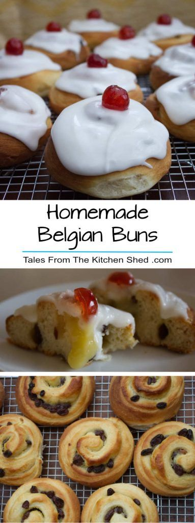 Homemade Belgian Buns - nothing beats a freshly baked iced bun with a cherry on the top. Filled with homemade Lemon Curd & juicy sultanas - so much better than Greggs!