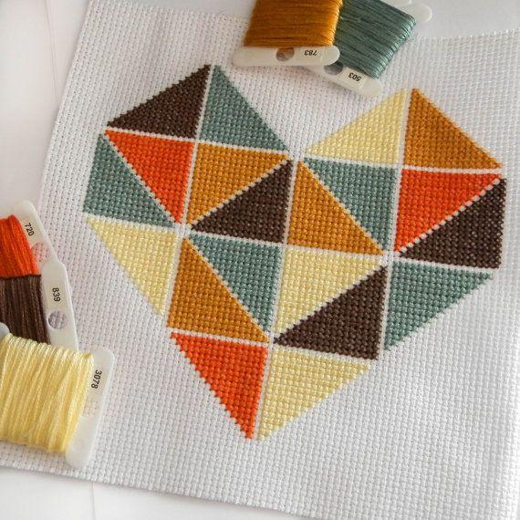 Geometric Minimalist Heart Love Cross Stitch By