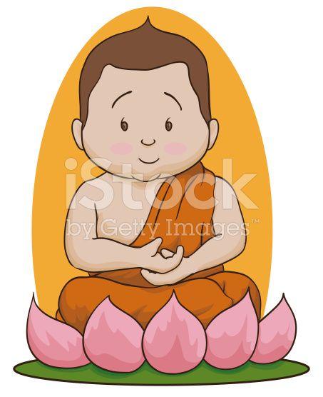 Meditative Buddha Sit over Lotus Isolated
