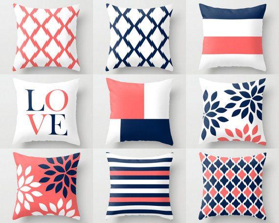 Gooien kussen Covers Navy koraal wit Navy blauw kussen typografie Art…