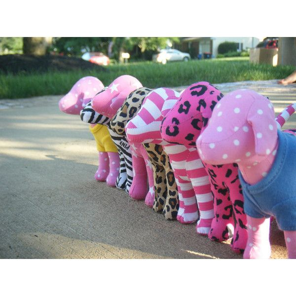 victorias secret pink dogs mini cute stuffed animals ❤ liked on Polyvore