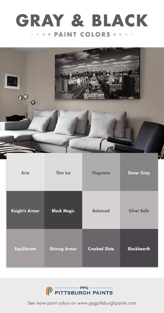Gray & Black Paint Color Inspiration - Gray whispers, where whites shout. Whites can look stark & unfinished, but the right gray can be sophisticated & intentional. Paler grays should be used with lots of bright white for contrast. Darker grays provide a deeper, moodier look that showcases well with shiny silver accessories. Black is a commitment, but what a statement it makes. Use as an accent wall with a great piece of artwork. Click to find more paint color advice from PPG Pittsburgh…