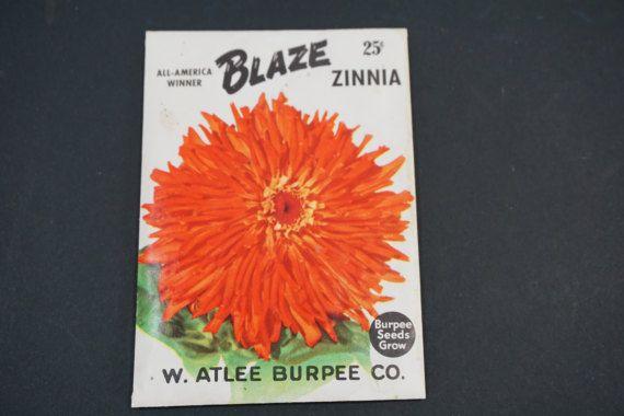 Seed Package, Burpee Seeds, W. Atlee Burpee Co., Blaze ZINNIA, Vintage 1950's  Vintage Garden, Horticulture Greenhouse, Free Ship