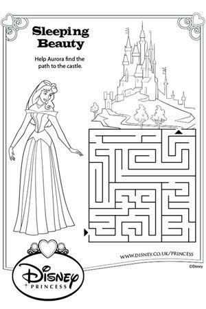 Aurora Maze Disney Princess Colouring Pages Pinterest And