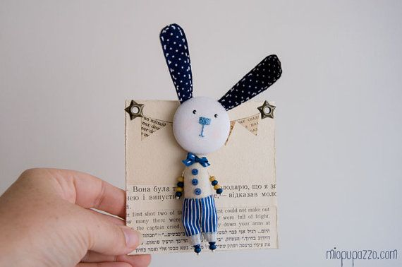Art Brooch Little Bunny mixed media collage by miopupazzo on Etsy,