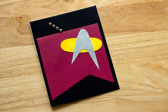 A handcrafted geek card that is bound to impress your captain!  Fan art card designed after Captain Picards uniform on Star Trek The Next Generation  Each card is hand crafted from high quality card stock, ink and embellishments, mounted with acid free adhesives. Blank white inside