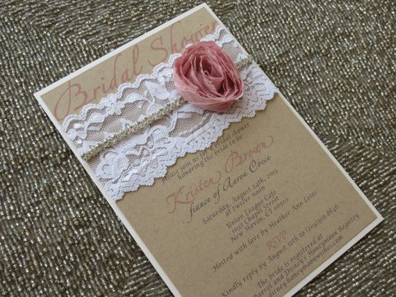 HAILEY  Shabby Chic Lace Bridal Shower by peachykeenevents on Etsy, $4.65