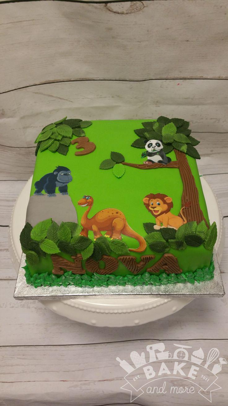 Jungle verjaardagstaart, jungle birthday cake, leeuw, lion, dino, gorilla, panda