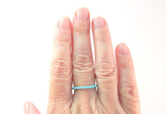 """Newly available, by popular request! The """"Thin Line"""" bead ring series. Available in every color imaginable! Stackable layers of color. What color would you like to see in the shop? #Minimalist #BeadJewelry  Skinny Light Turquoise Blue Beaded Ring, Thin Line Skinny Peyote Seed Bead Ring, Thumb Toe or Pinky Ring"""