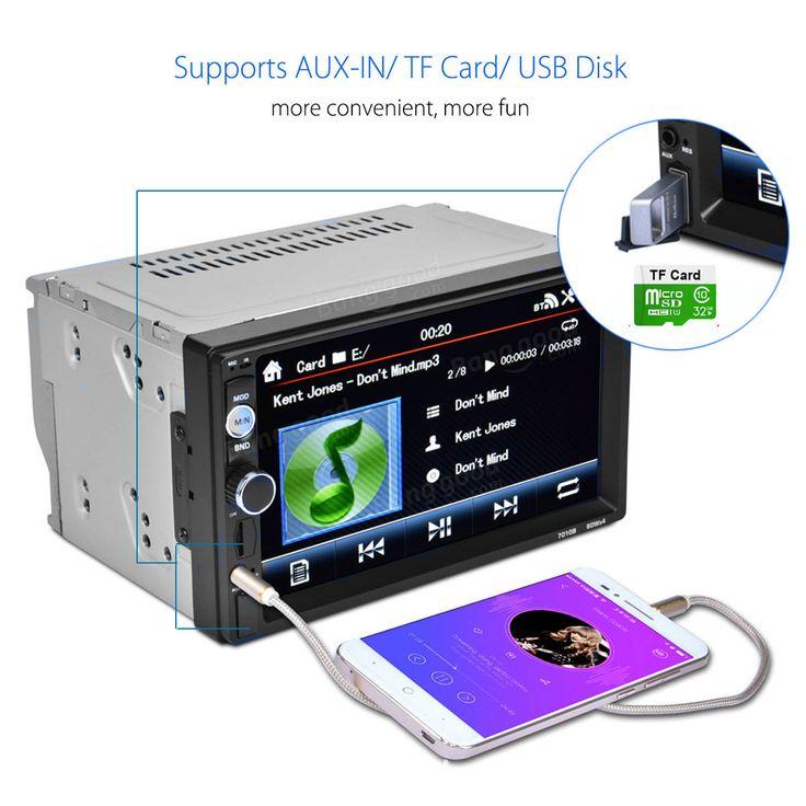 2 DIN 7 Inch Car Player MP5 FM Radio Bluetooth Rear Camera USB TF Aux RC Touchscreen