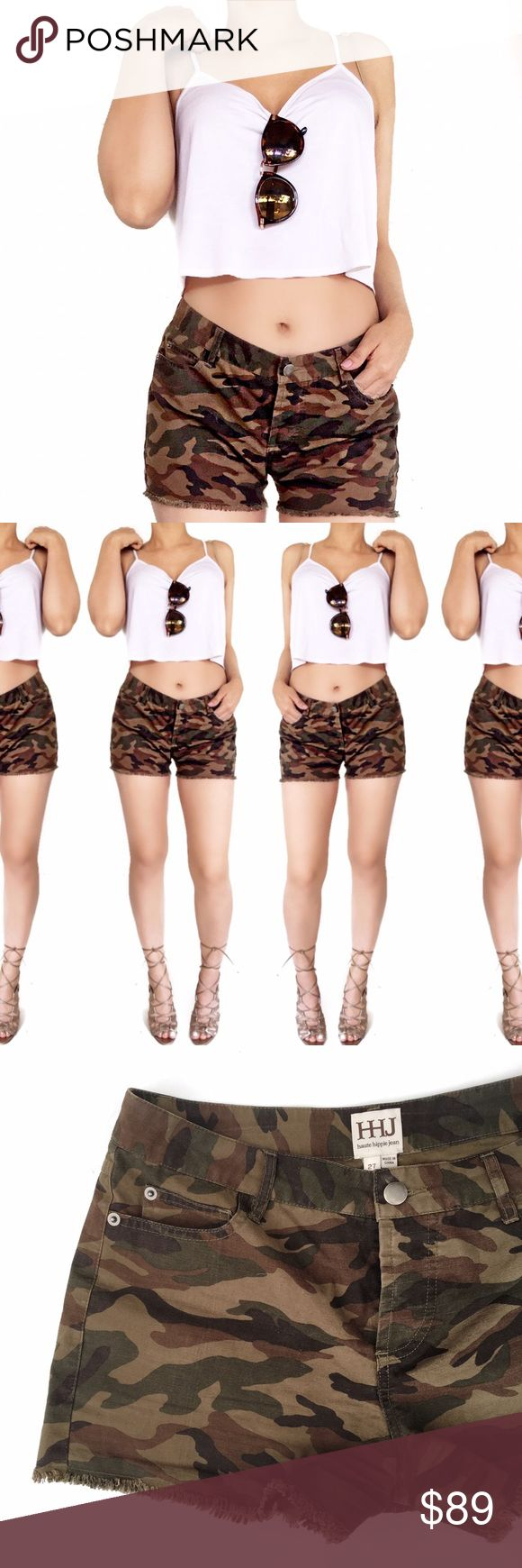Haute hippie camo frayed shorts Super chic camouflage shorts! No trades. Always open to offers. All photos are of actual item Haute Hippie Shorts
