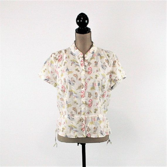 Novelty Print Shirt Women Cotton Blouse Short Sleeve Button Up Top