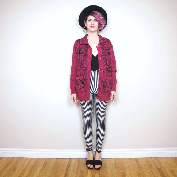 1980's Fashion - 80's Style - Pink Metallic Floral Knit Slouchy Cardigan - Black & White Striped Leggings - Black Halter Top - Big Black Sunhat - <3