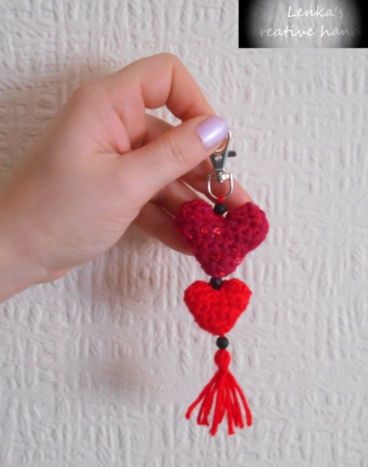 Red harts keychain, Decorative red hearts, Gift loved one, Crochet hearts Pendants on the bag, Valentine's gift, Gift for her by Lenkascreativehands on Etsy