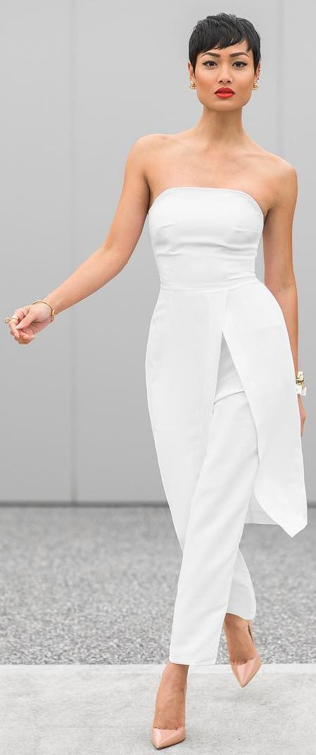 White Pant Suit Nude Pumps by Micah Gianneli                                                                                                                                                      More