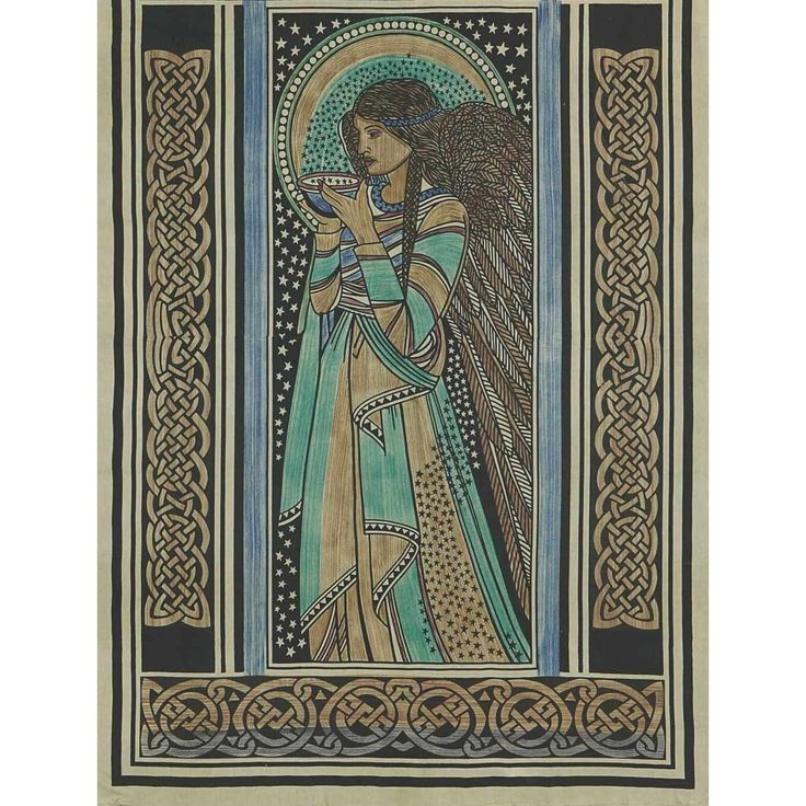 Handmade Celtic Peace Angel 100% Cotton Tab Top Curtain Drape Panel 44x88 inches - 44 x 88 inches (Neutral)