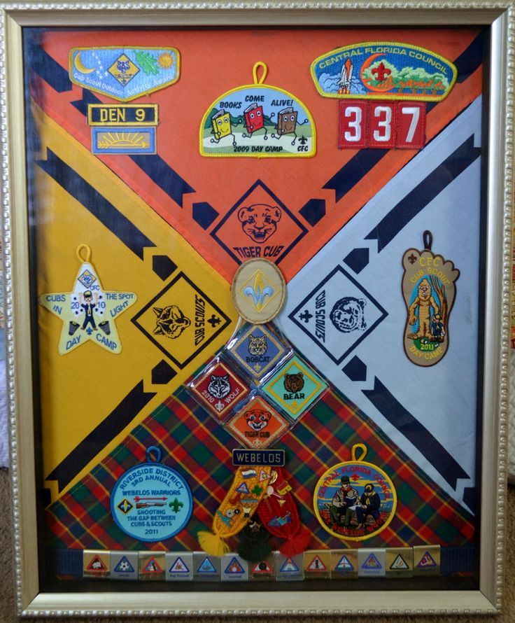"""Use a shadow box frame 12""""x12"""". Plan on attaching everything to the cardboard included or a piece cut to fit. First attach the neckerchief points to the center; and then start attaching the other i..."""