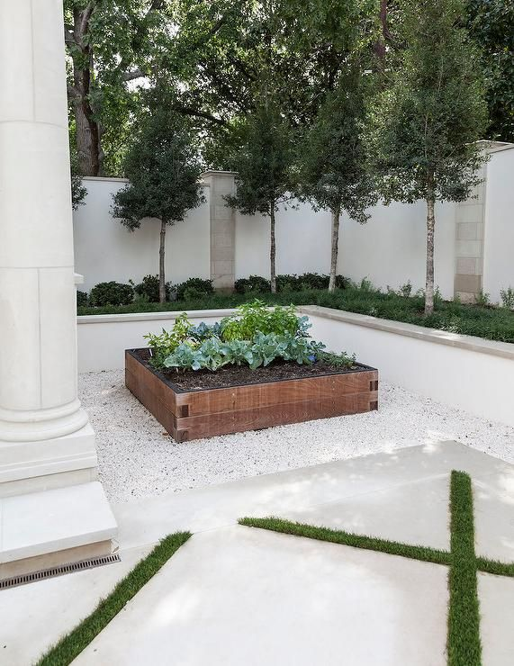 if little space in front of house great for a small court yard idea. water feature in middle