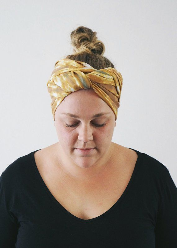 große Vielfalt Stile heißester Verkauf gut Gelbe TIEDYE Kopftuch für Frau, Haarschal, Stirnband, Kopf ...