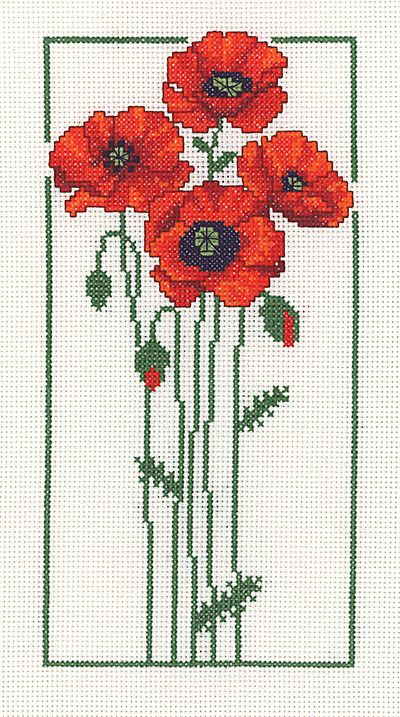 Poppies Cross Stitch Kit by Heather Anne Designs for Classic Embroidery