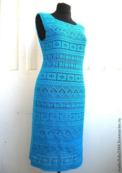 """Платье """"Бирюза"""" - бирюзовый,однотонный,платье вязаное,платье летнее,платье коктейльное"""