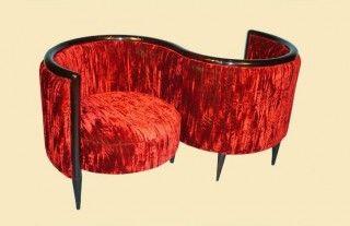 Red Art Deco Confidante Sofa