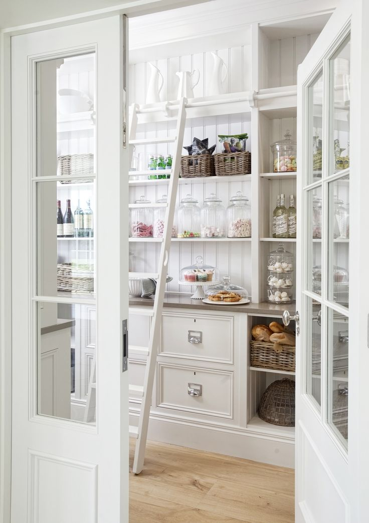 Walk-in pantry with a ladder