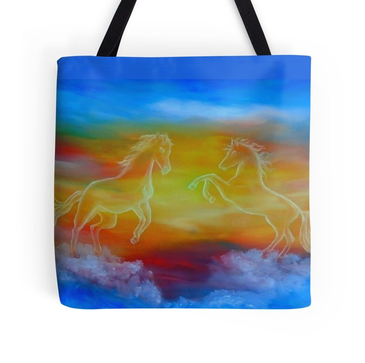 Tote Bag,   horses,sky,fantasy,wild,animals,blue,colorful,impressive,cool,beautiful,unique,trendy,artistic,unusual,accessories,for sale,design,items,products,gifts,presents,ideas,redbubble