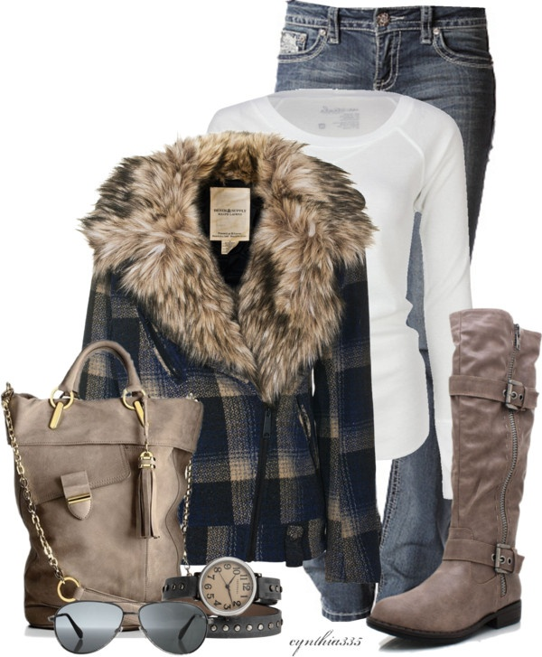 """Navy and Taupe winter outfit"
