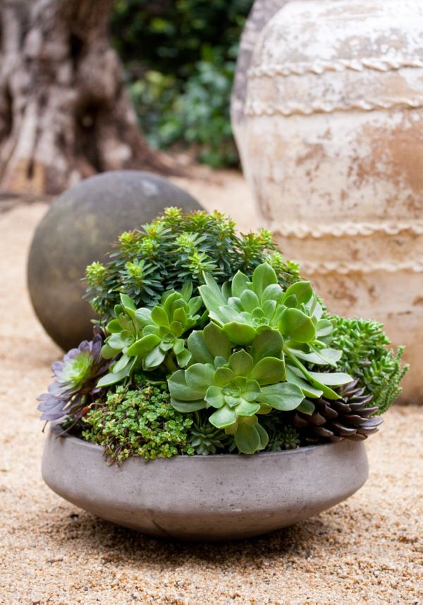 Neat idea for the patio area on the ground rather than as a table top accent.