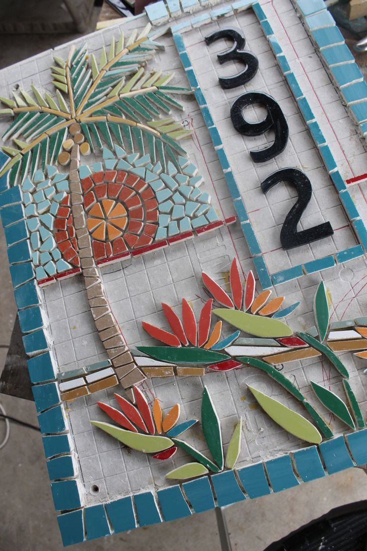 Mosaic House Numbers, Palm Tree, Tropical, Bird of Paradise Flowers, in the works. Watch the Progress here! Janet Dineen's Mosaic Art by HappyHomeDesignArt on Etsy