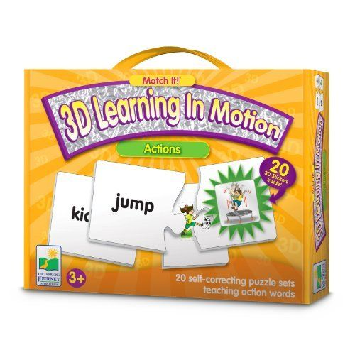 The Learning Journey Match It! 3D Learning in Motion Actions by 3D Learning In Motion. $11.99. Teaches actions. From the Manufacturer                Match It! 3D Learning in Motion magically brings actions to life.  This colorful set of 20 self-correcting puzzle cards provides children with an excellent start to learning verbs.  Before matching the puzzle pairs, simply place the 20- 3D lenticular stickers to their matching place on the cards.  Play Match It! by matching a...
