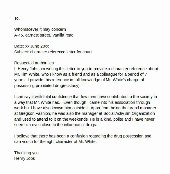 Sample Character Reference Letter To Judge Letter To Judge Personal Reference Letter Reference Letter