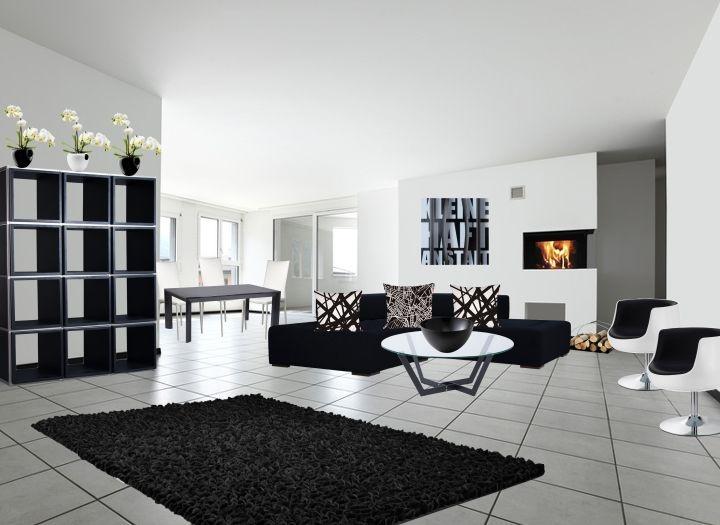 Elegant Wohnzimmer Und Esszimmer Kombiniert Ein Schöner, Großzügiger Raum.  Klassisch In Schwarz Weiß Mit