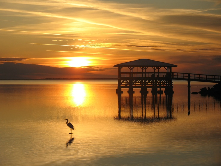 Peace and tranquility - egret at sunset, City Pier - Port St. Joe, Florida