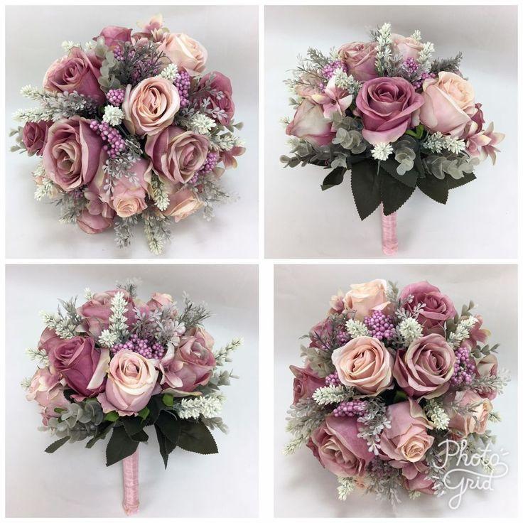 Artificial silk flower Dusty pink roses/cream lavender bridal wedding bouquet