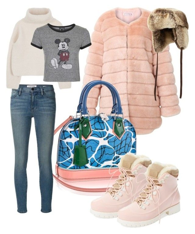 """Snow time"" by carolina-gangan ❤ liked on Polyvore featuring Louis Vuitton, Australia Luxe Collective, Neiman Marcus, Frame Denim and Topshop"