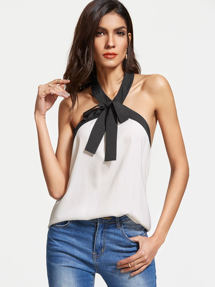 Shop White Contrast Bow Tie Halter Neck Top online. SheIn offers White Contrast Bow Tie Halter Neck Top & more to fit your fashionable needs.